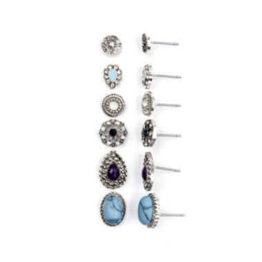jcpenney.com | Arizona 6-pr. Crackle Cab Stone Earring Set