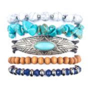 Arizona Matrix Bead Silver-Tone Stretch Bracelet