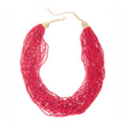 Mixit™ Red Seedbead and Silver-Tone Collar Necklace