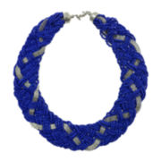 Mixit™ Blue Seedbead and Silver-Tone Braid Necklace