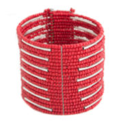 Mixit™ Red Seedbead Silver-Tone Cuffed Bracelet