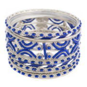 Mixit™ 11-pc. Blue Beaded Silver-Tone Bangle Set