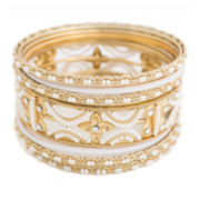 Mixit™ 11-pc. White Beaded Gold-Tone Bangle Set