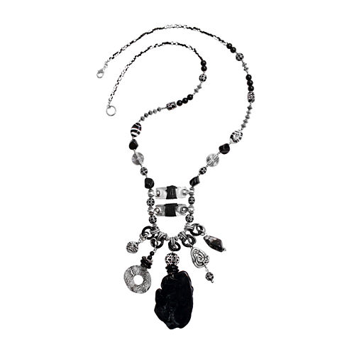 Aris by Treska Acrylic Stone Sterling Silver Pendant Necklace