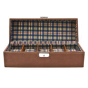 5 Watch Brown Leather Watch Box