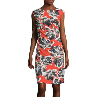 jcpenney.com | Black Label by Evan-Picone Cap-Sleeve Side-Ruched Floral Sheath Dress