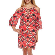 a.n.a® 3/4-Sleeve Cold-Shoulder Printed Shift Dress