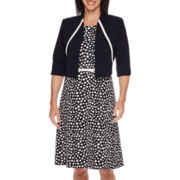 Maya Brooke Dot-Print Contrast-Trim Jacket Dress