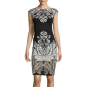 London Style Collection Cap-Sleeve Paisley Sheath Dress