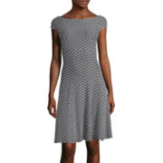 Danny & Nicole® Cap-Sleeve Chevron Dot Pucker Fit-and-Flare Dress