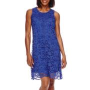 Donna Ricco Sleeveless Crochet Lace A-Line Dress - Petite