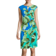 Ronni Nicole Cap-Sleeve Floral-Print Keyhole Sheath Dress