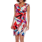London Style Collection Sleeveless Side-Tie Ruched Sheath Dress