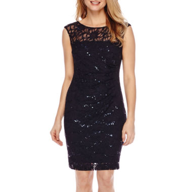 jcpenney.com | Scarlett Sleeveless Illusion Sequin Lace Sheath Dress - Petite