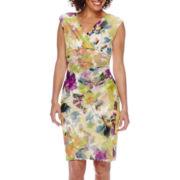 London Times Sleeveless V-Neck Chiffon Side Ruched Sheath Dress