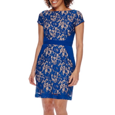 jcpenney.com | Danny & Nicole® Cap-Sleeve Inset-Waist Pieced Lace Sheath Dress
