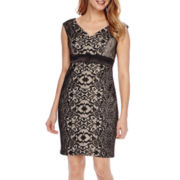 Signature by Sangria Sleeveless Lace Sheath Dress - Petite