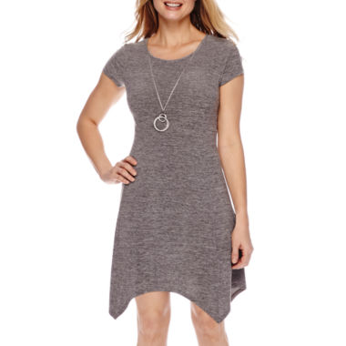 jcpenney.com | Alyx® Short-Sleeve Necklace Fit-and-Flare Dress