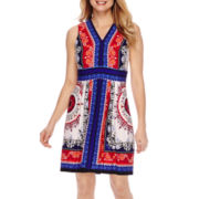 Studio 1® Sleeveless Printed Fit and Flare Dress - Petite