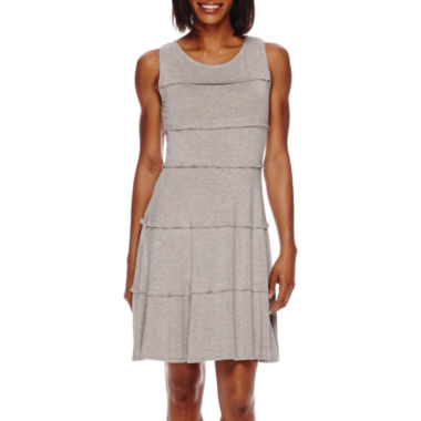 jcpenney.com | Perceptions Sleeveless Ruffle Knit Fit-and-Flare Dress - Petite