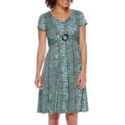 Perceptions Short-Sleeve High-Buckle Fit-and-Flare Dress