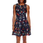 Danny & Nicole® Sleeveless Pieced Floral Fit-and-Flare Dress