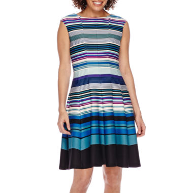 jcpenney.com | Danny & Nicole® Sleeveless Striped Colorblock Fit-and-Flare Dress