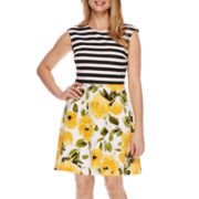 Studio 1® Sleeveless Striped Floral Fit-and-Flare Dress