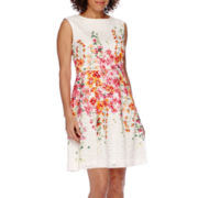 Studio 1® Sleeveless Lace Floral Fit and Flare Dress - Petite