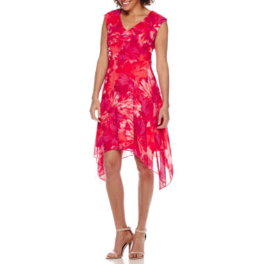 jcpenney.com | Studio 1® Sleeveless Floral Sharkbite Fit-and-Flare Dress - Petite