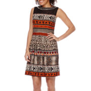 Studio 1® Sleeveless Embellished-Neck Fit-and-Flare Dress