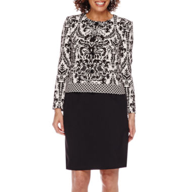 jcpenney.com | Isabella Long-Sleeve Jacquard Jacket and Solid Skirt Suit Set - Petite