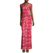 St. John's Bay® Sleeveless Gathered-Bodice Maxi Dress - Petite