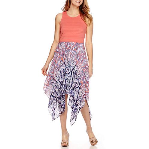 Robbie Bee® Sleeveless Knit-Bodice Chiffon Dress - Petite