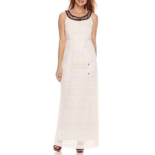 Studio 1® Sleeveless Beaded Neck Belted Crochet Maxi Dress