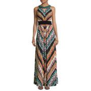 Ronni Nicole Sleeveless Beaded-Neck Keyhole Maxi Dress