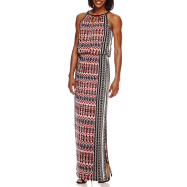 jcpenney.com | London Style Collection Sleeveless Keyhole Side-Border Printed Maxi Dress