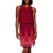 London Style Collection Sleeveless Blouson Fit-and-Flare Dress
