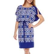 Signature by Sangria Short-Sleeve Blouson Dress - Petite