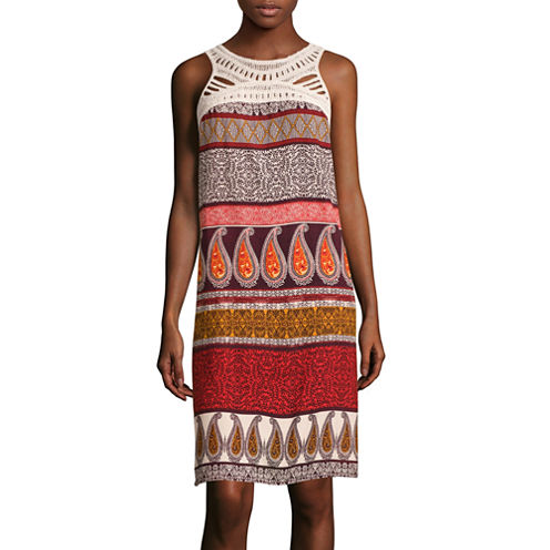 MSK Sleeveless Printed Crochet-Neck Sheath Dress