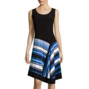 MSK Sleeveless Asymmetric Hem Fit-and-Flare Dress