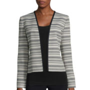 Black Label by Evan-Picone Long-Sleeve V-Neck Stripe Jacket