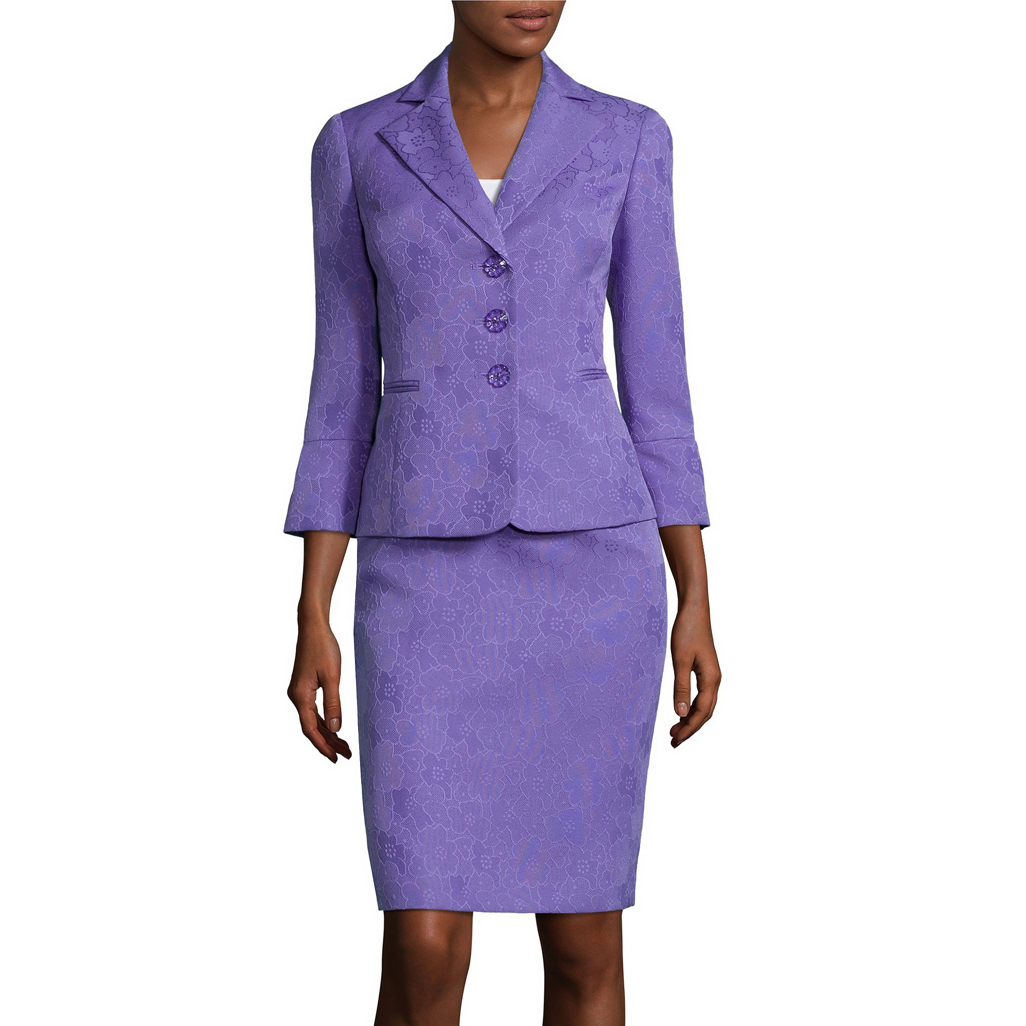 Le Suit 3/4-Sleeve 3-Button Skirt Suit plus size,  plus size fashion plus size appare