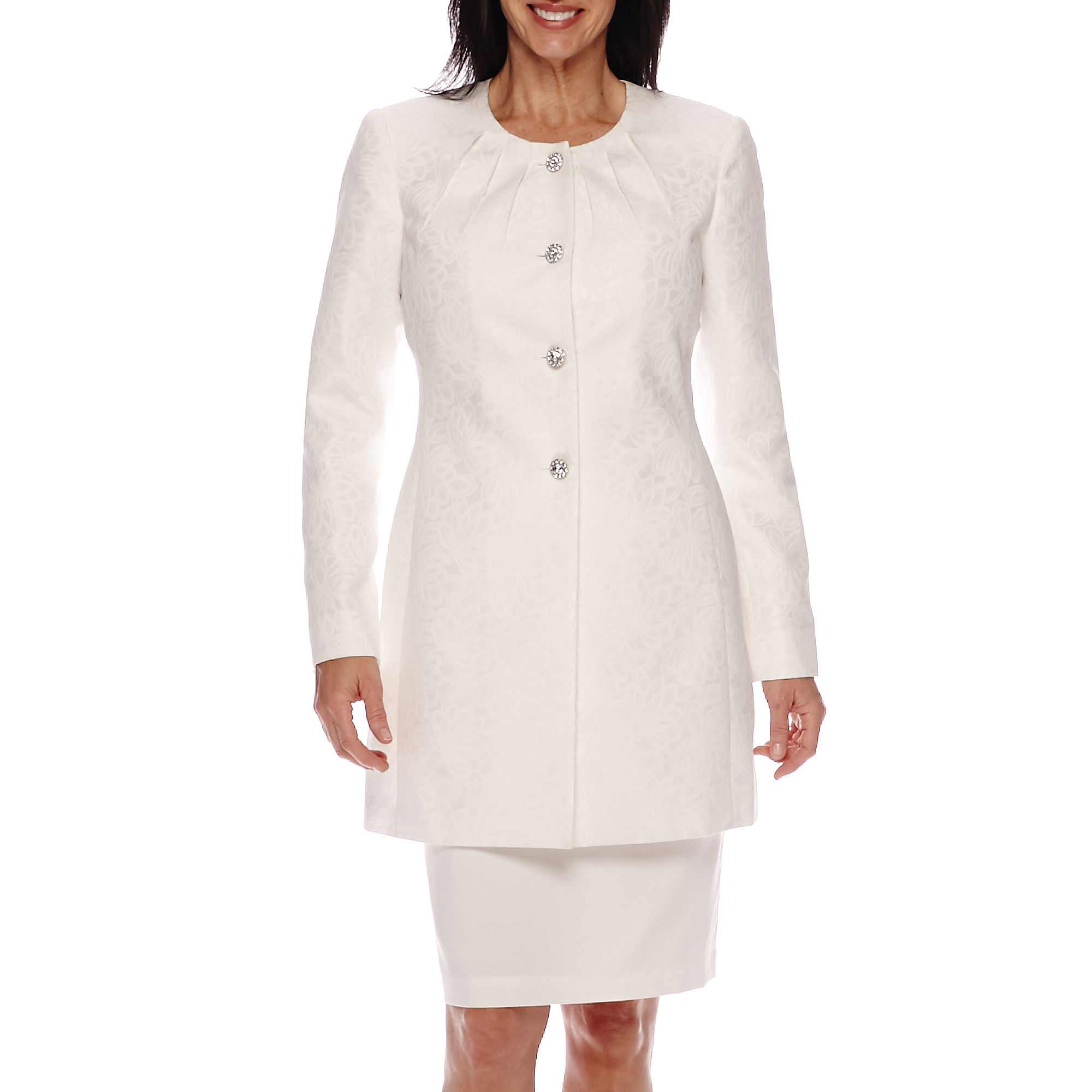 Isabella Long-Sleeve 4-Button Collarless Long Jacket and Skirt Suit Set plus size,  plus size fashion plus size appare