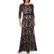 Signature by Sangria 3/4-Sleeve Lace Formal Gown - Petite