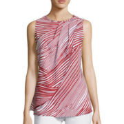 Liz Claiborne® Sleeveless Printed Overlay Blouse - Tall