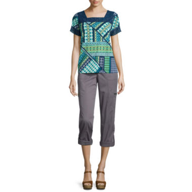 jcpenney.com | St. John's Bay® Flutter-Sleeve Lace-Yoke Top or Convertible Cargo Pants - Tall