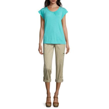 jcpenney.com | St. John's Bay® Short-Sleeve Lace-Shoulder Tee or Convertible Cargo Pants - Tall