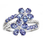 Genuine Tanzanite Sterling Silver Flower Ring