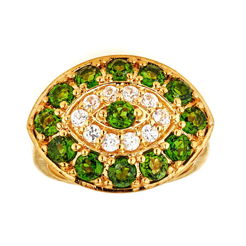 LIMITED QUANTITIES! Green Chrome and White Zircon 10K Yellow Gold over Silver Ring